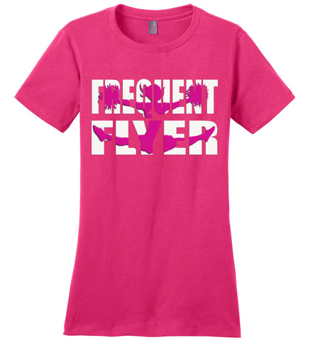 Image of Frequent Flyer Cheer Flyer T Shirt Pink Design ladies crew pink