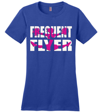 Image of Frequent Flyer Cheer Flyer T Shirt Pink Design ladies crew  royal