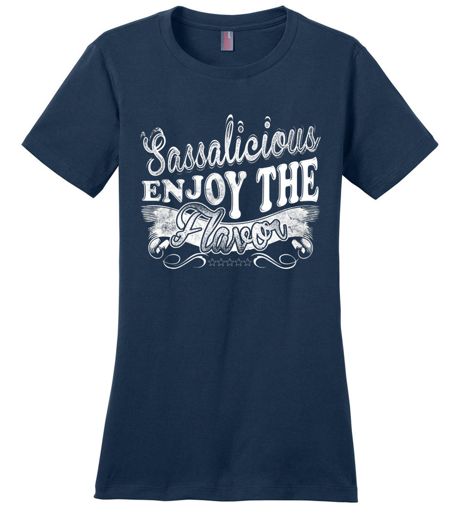 Sassalicious Enjoy The Flavor! Sassy Shirts ladies navy