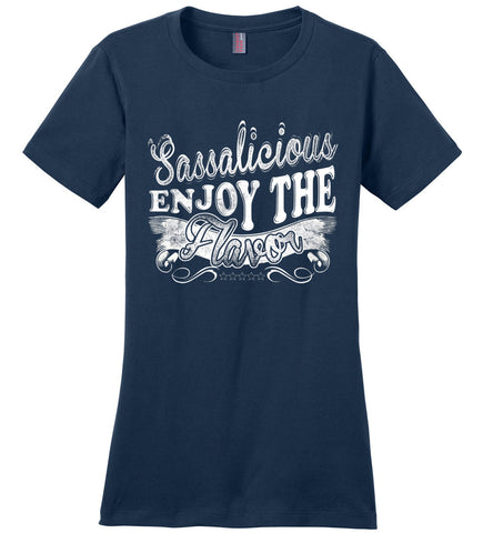Image of Sassalicious Enjoy The Flavor! Sassy Shirts ladies navy