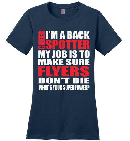 Image of I'm A Spotter What's Your Superpower Cheer Backspot Shirts Design 2 ladies navy