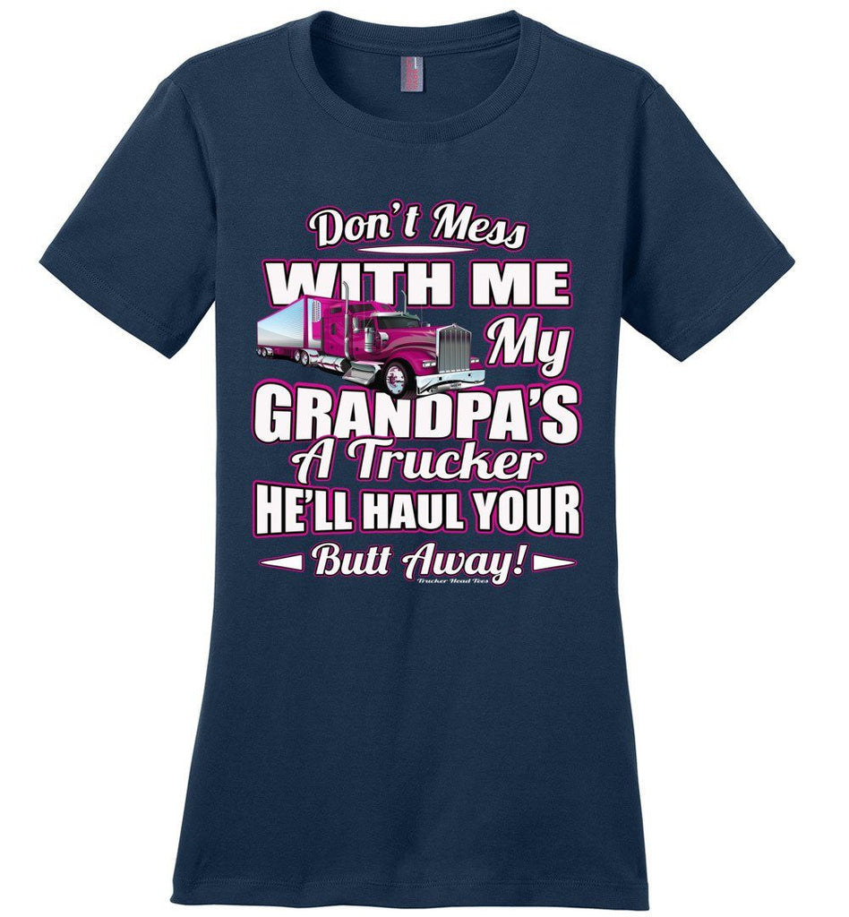 Don't Mess With Me My Grandpa's A Trucker Kid's trucker tees Pink Design ladies navy