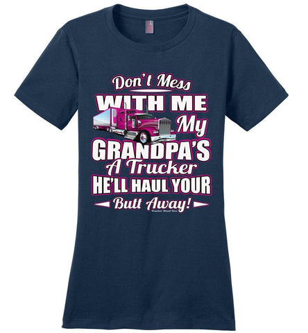 Image of Don't Mess With Me My Grandpa's A Trucker Kid's trucker tees Pink Design ladies navy