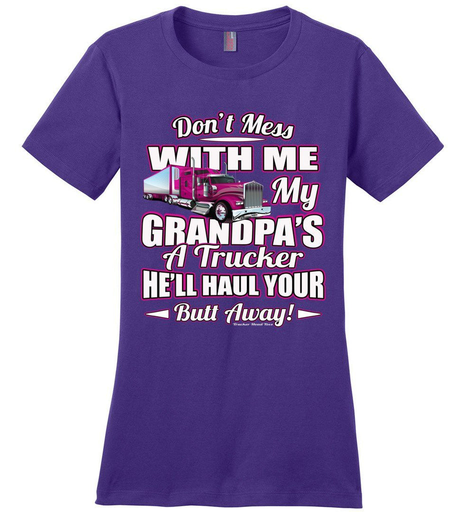 Don't Mess With Me My Grandpa's A Trucker Kid's trucker tees Pink Design ladies purple