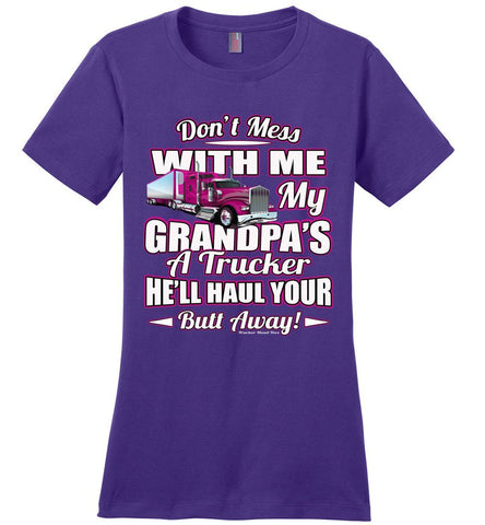 Image of Don't Mess With Me My Grandpa's A Trucker Kid's trucker tees Pink Design ladies purple