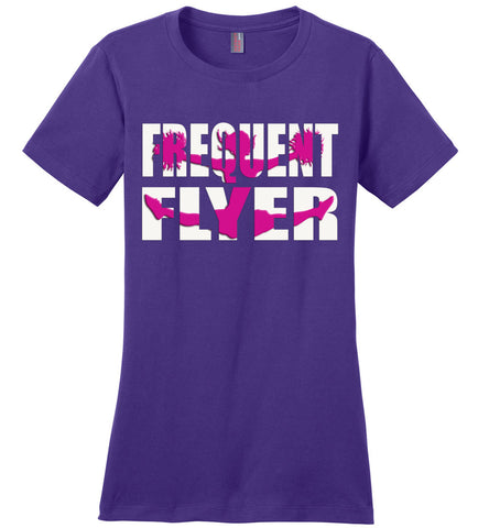 Image of Frequent Flyer Cheer Flyer T Shirt Pink Design ladies crew purple