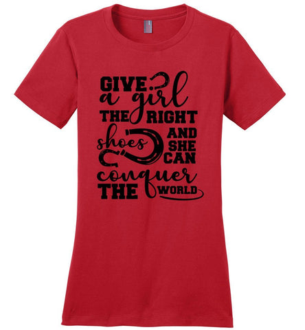 Image of Give A Girl The Right Shoes Horse T Shirts For Girls