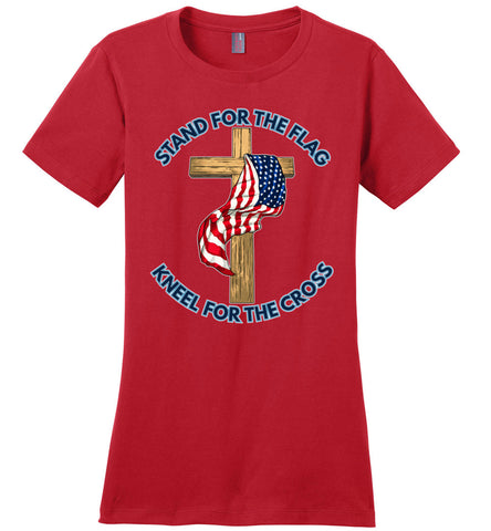 Stand For The Flag Kneel For The Cross Shirt ladies  red