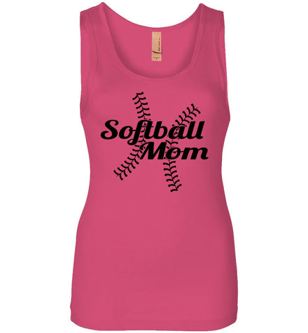 Image of Softball Mom Tank Tops ladies jersey pink