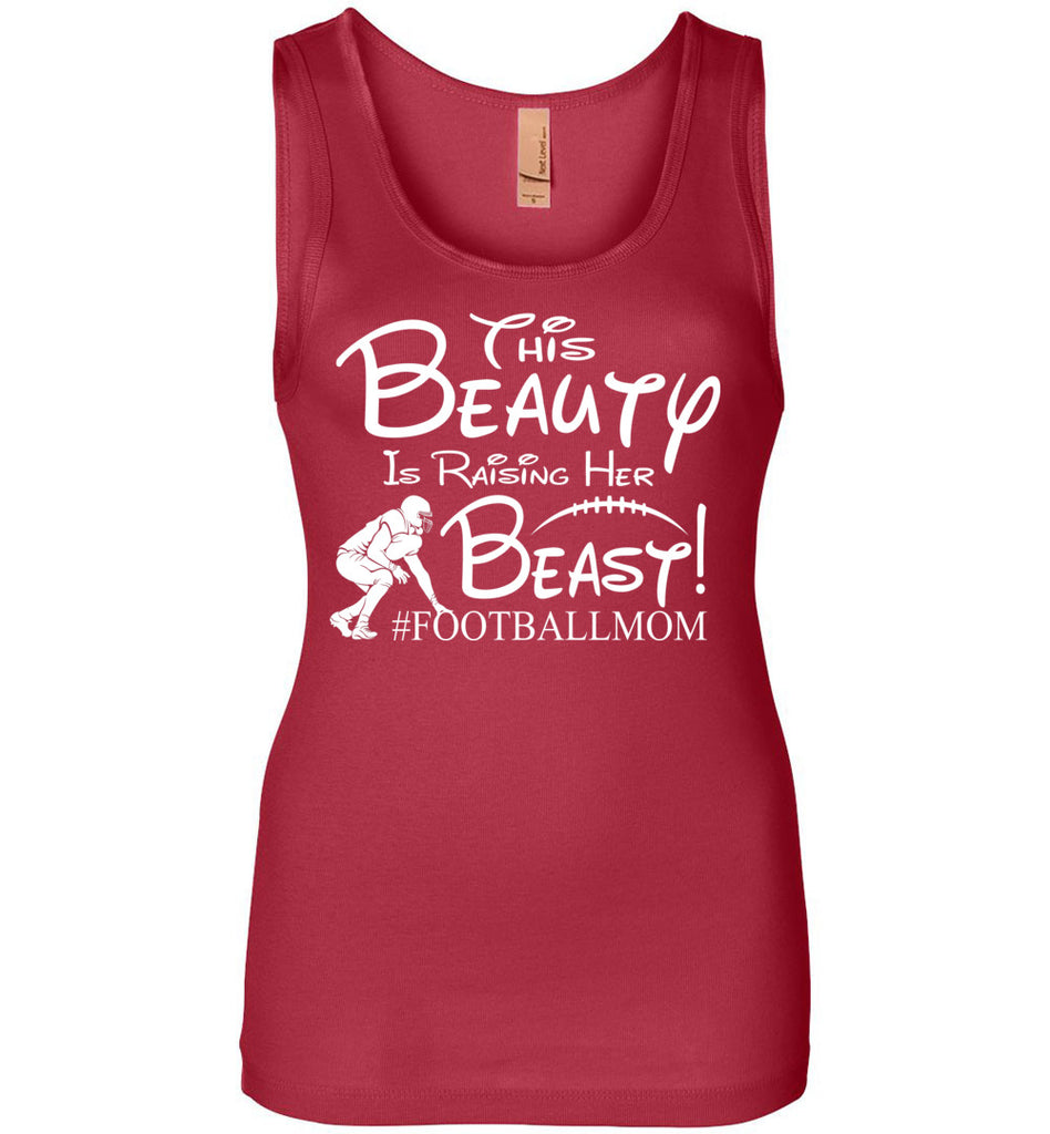 This Beauty Is Raising Her Beast Football Mom Tank Tops jersey red