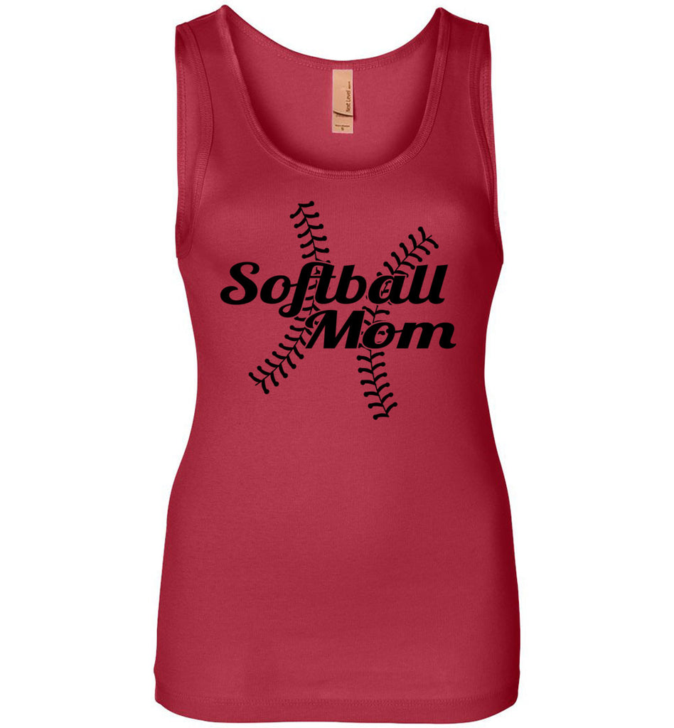 Softball Mom Tank Tops ladies jersey red