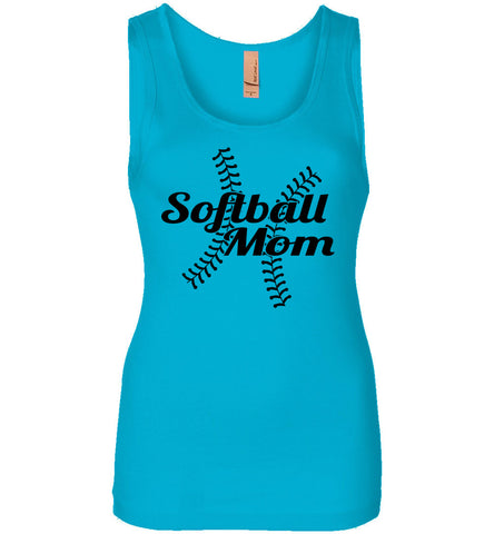 Image of Softball Mom Tank Tops ladies jersey turquoise