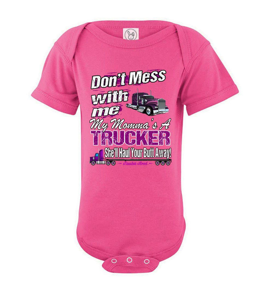 Don't Mess With Me My Momma's A Trucker Kid's Trucker Tee opk