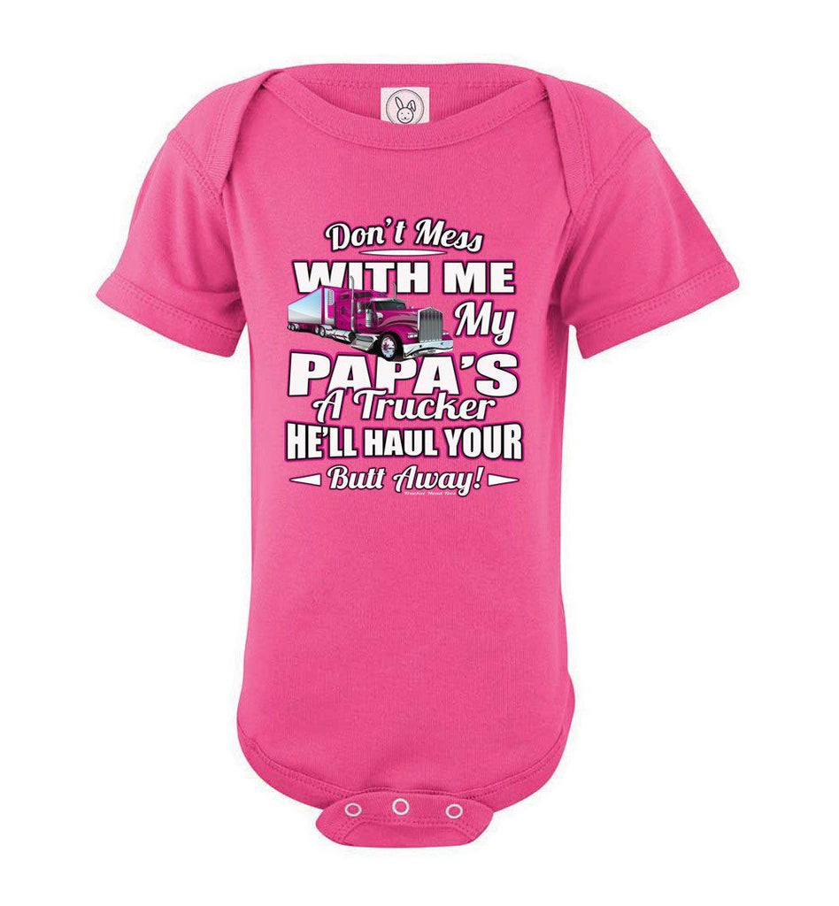 Don't Mess With Me My Papa's A Trucker Kid's Trucker onesies Pink Design pink