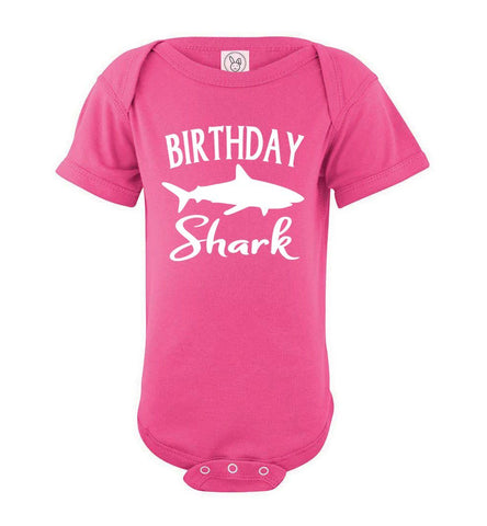 Image of Birthday Shark Shirt onesie pink