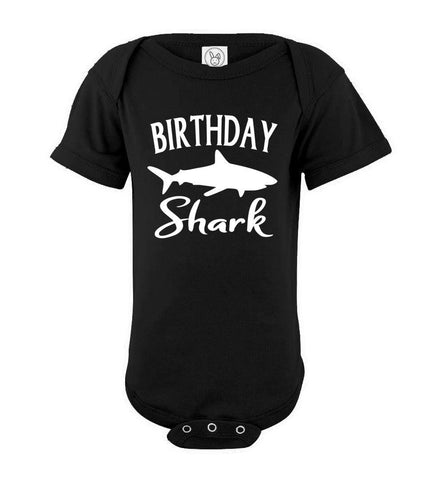 Birthday Shark Shirt onesie black