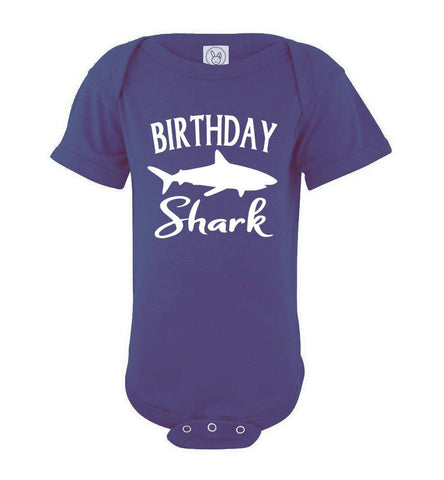 Image of Birthday Shark Shirt onesie purple