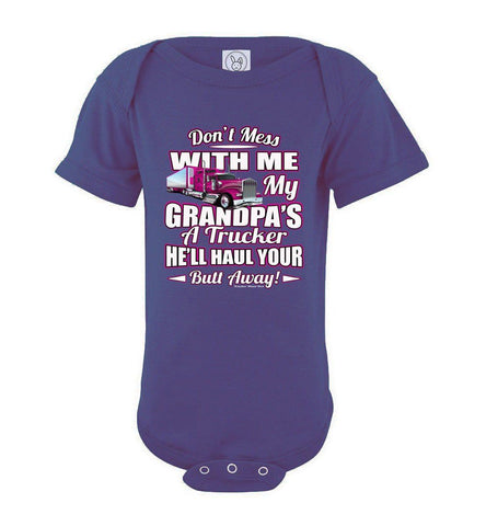Image of Don't Mess With Me My Grandpa's A Trucker Kid's trucker onesies Pink Design purple