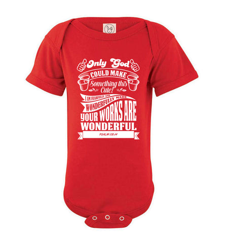 Image of Only God Could Make Something This Cute Christian Baby Onesie red
