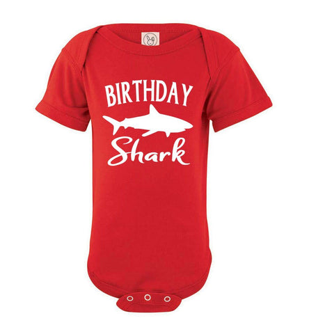 Image of Birthday Shark Shirt onesie red