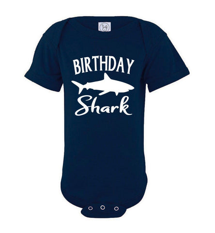 Birthday Shark Shirt onesie navy