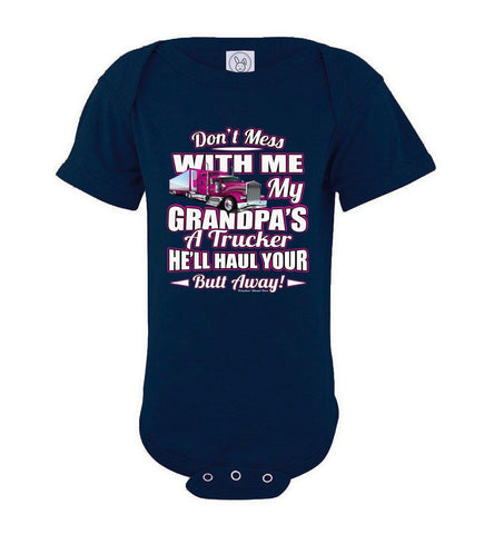 Image of Don't Mess With Me My Grandpa's A Trucker Kid's trucker onesies Pink Design navy
