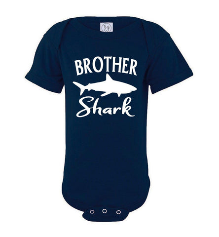 Image of Brother Shark Shirt onesie navy