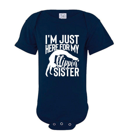 Image of I'm Just Here For My Flippin' Sister Gymnastics Brother Tshirt on