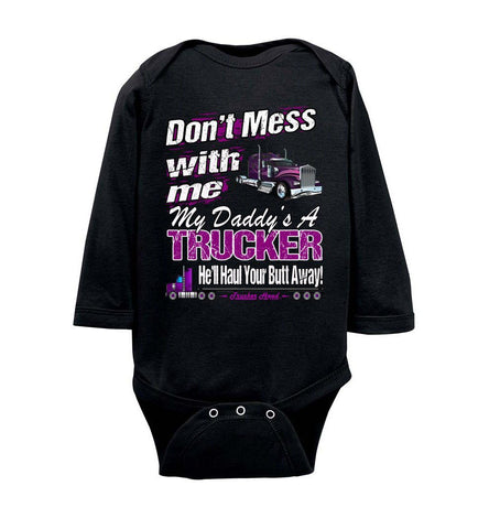 Image of Don't Mess With Me My Daddy's A Trucker Kid's Trucker Tee lsob