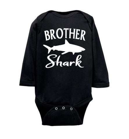 Image of Brother Shark Shirt onesie ls black