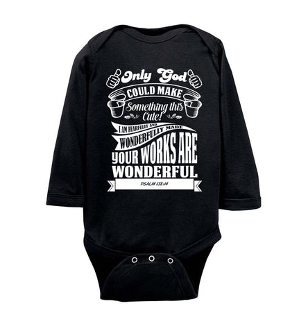 Image of Only God Could Make Something This Cute Christian Baby Onesie ls black