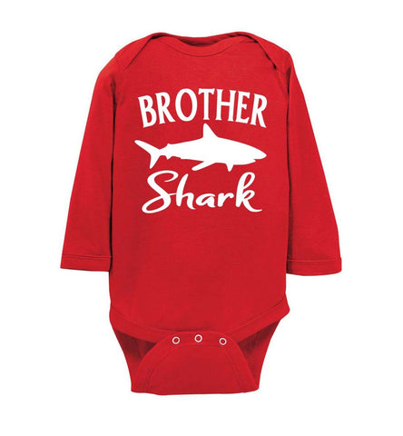 Brother Shark Shirt onesie ls red