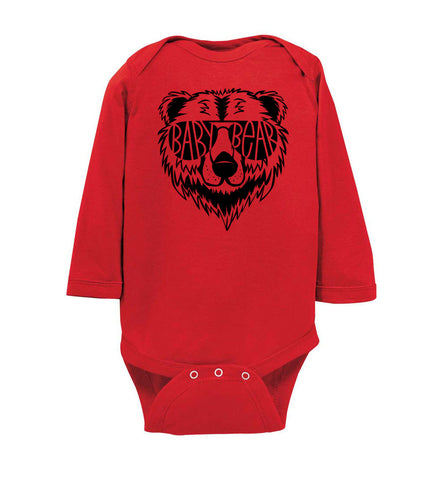 Image of Baby Bear Infant long sleeve Onesie red