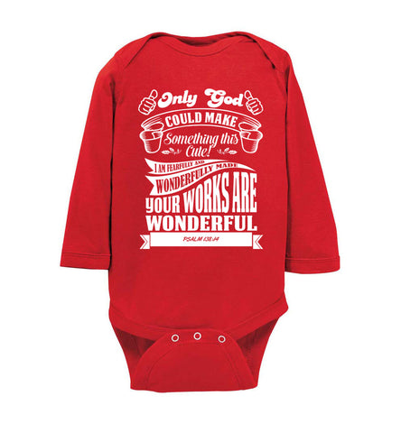 Image of Only God Could Make Something This Cute Christian Baby Onesie ls red