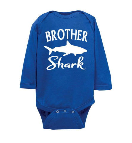 Image of Brother Shark Shirt onesie ls royal
