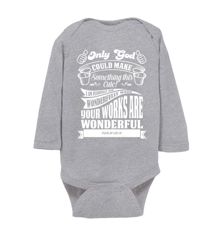 Only God Could Make Something This Cute Christian Baby Onesie ls heather