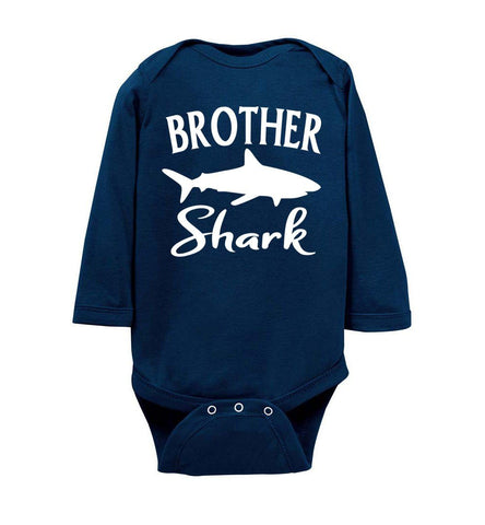 Image of Brother Shark Shirt onesie ls navy