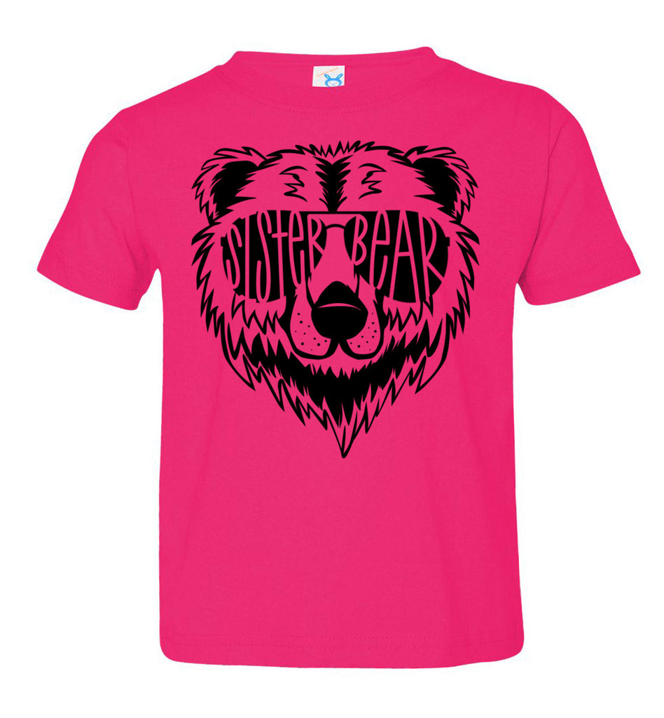 Sister Bear Shirt toddler hot pink