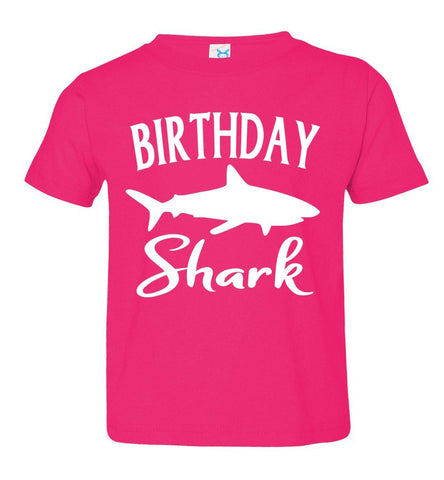 Image of Birthday Shark Shirt toddler pink
