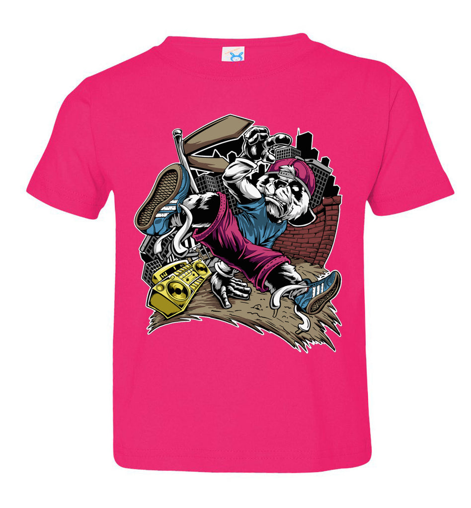 Break Dance Panda Hip Hop T Shirts toddler hot pink