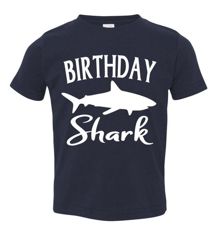 Birthday Shark Shirt toddler navy