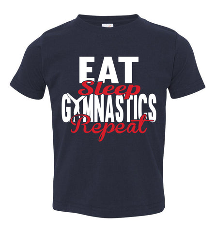 Eat Sleep Gymnastics Repeat Gymnastics T Shirt toddler navy
