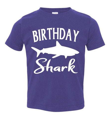 Image of Birthday Shark Shirt toddler purple