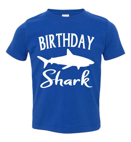 Image of Birthday Shark Shirt toddler royal