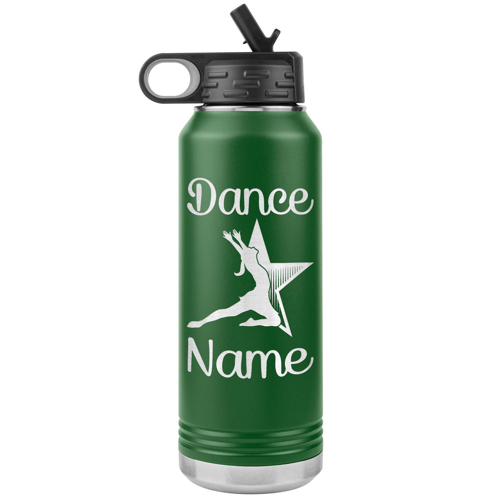 Dance Tumbler Water Bottle, Personalized Dance Gifts green