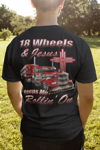 18 Wheels And Jesus Keeps Me Rollin' On mock up