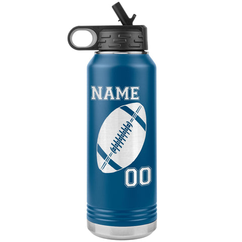 32oz. Water Bottle Tumblers Personalized Football Water Bottles blue
