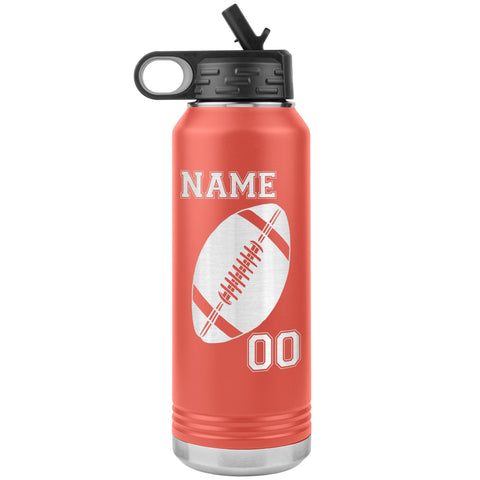 32oz. Water Bottle Tumblers Personalized Football Water Bottles coral
