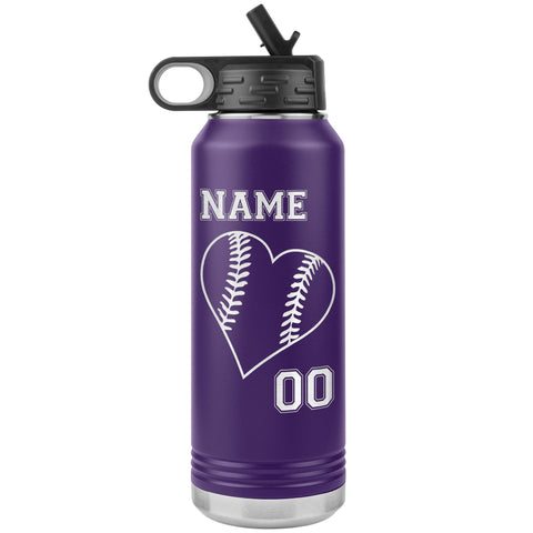 32oz Tumbler Softball Water Bottle Or Baseball Water Bottle purple