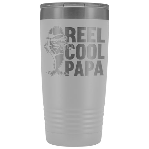 Image of Reel Cool Papa Fishing Papa 20oz Tumbler white